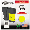 LC65Y Compatible, Remanufactured, LC65Y (LC65) Ink, 750 Page-Yield, Yellow