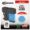 LC65C Compatible, Remanufactured, LC65C (LC65) Ink, 750 Page-Yield, Cyan