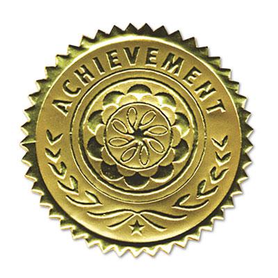 "Gold Foil Certificate Seals, ""Achievement"", Embossed Foil, 12/Pack"
